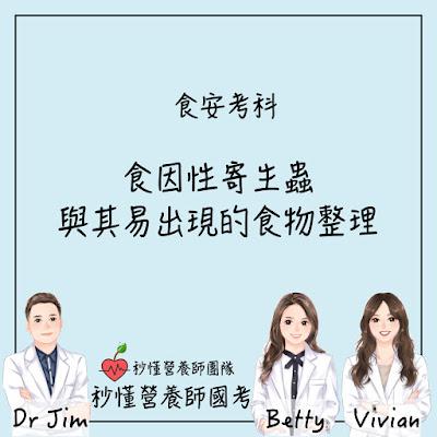 台灣營養師Vivian【秒懂營養師國考】食因性寄生蟲的熱門考點