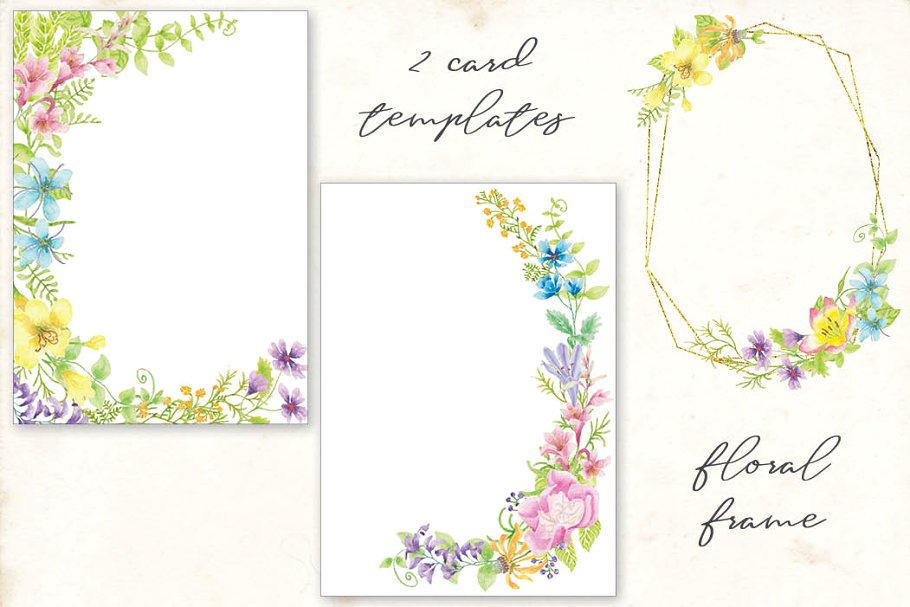 Textures & Patterns: Meadow Flowers Watercolor Collection (PNG, JPG)