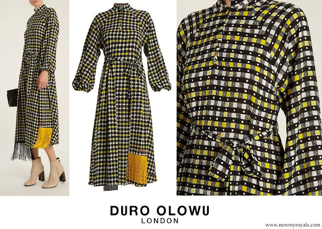 Queen Maxima wore Duro Olowu Napoli check-print puff-sleeved dress