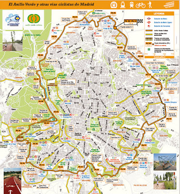 Mapa del anillo verde ciclista de Madrid
