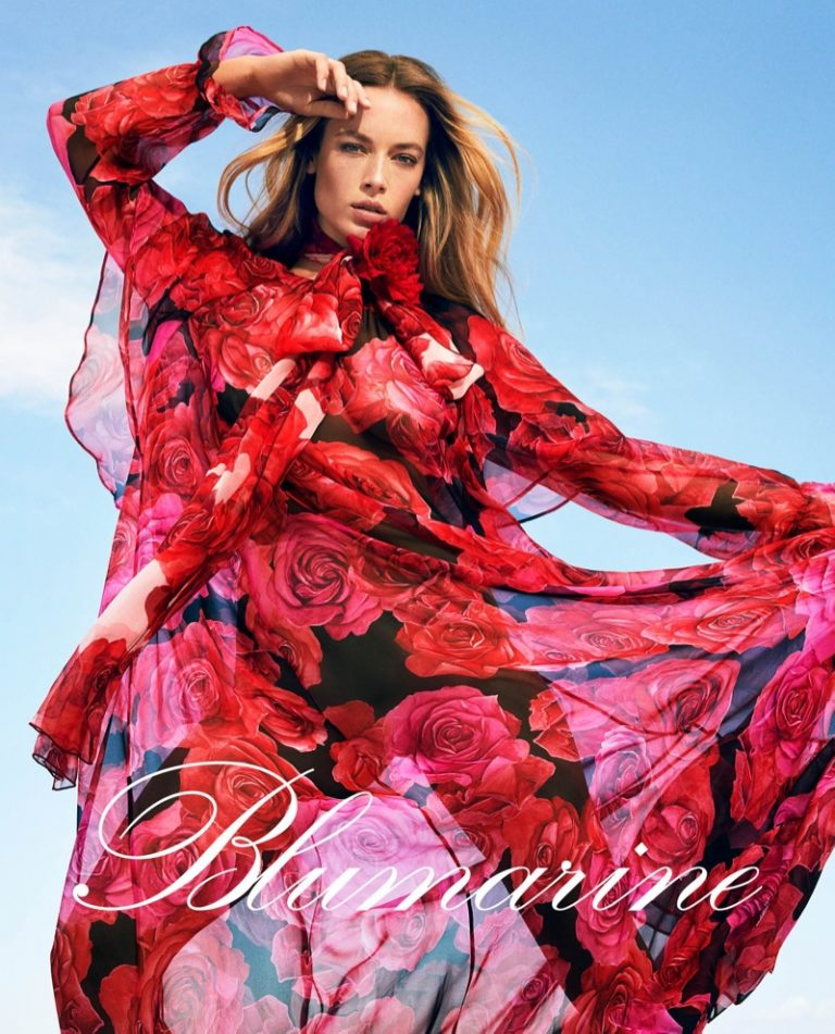 Hannah Ferguson wears floral prints in Blumarine fall-winter 2019 campaign