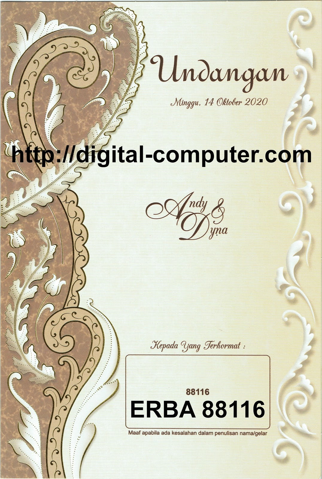 Undangan Softcover ERBA 88116