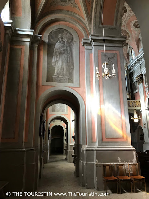 Pillars and arches of Saint Theresa church in Vilnius in Lithuania