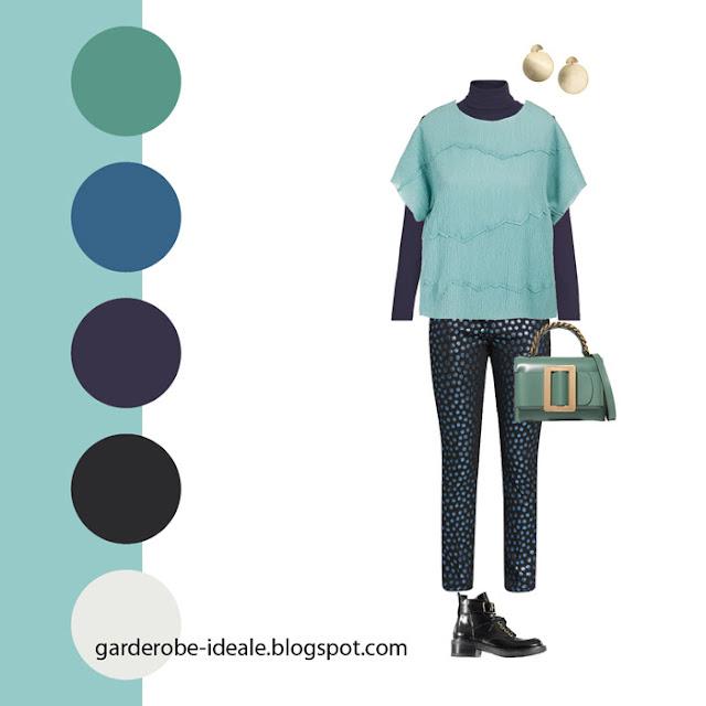 Сочетание зеленого, бирюзового и синего цветов в одежде
