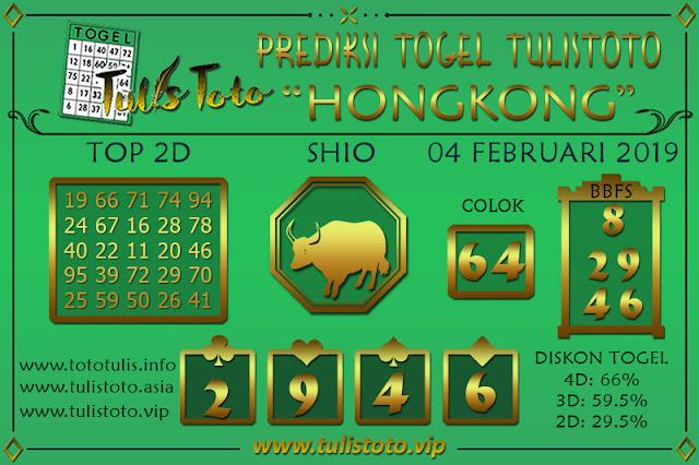 Prediksi Togel HONGKONG TULISTOTO 04 FEBRUARI 2019
