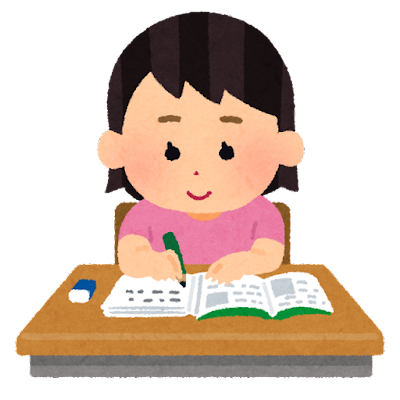 机で勉強をする生徒のイラスト(女子)
