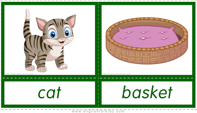 Animal homes and habitats -- cat - basket -- printable flashcards for English learners
