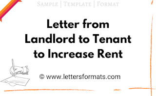Sample Letter from Landlord to Tenant to Increase Rent