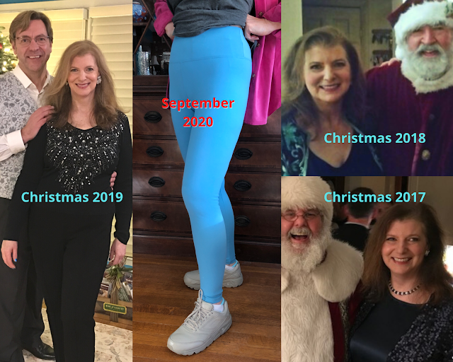 image collage of woman at different weights between 2017 and 2020