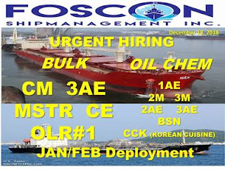 2640 seaman jobs crew for join on a Bulk carrier ship, Oil chemical tanker ship deployment January February 2019.