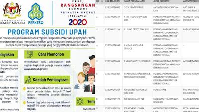 Semakan Senarai Majikan Yang Lulus Bayaran Program Subsidi Upah PERKESO 2020
