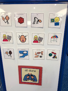 Visual schedule with images of story time activities