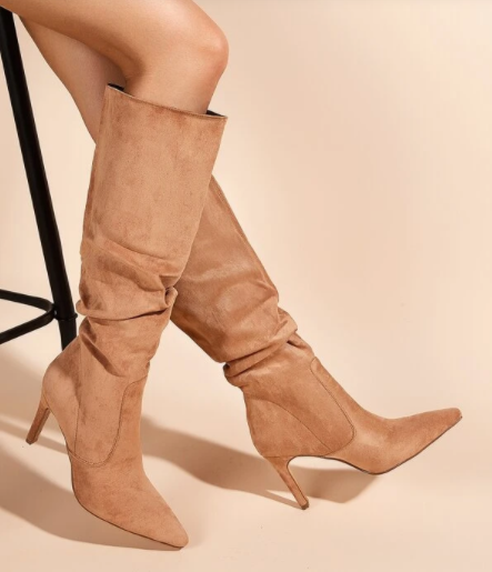 Camel Suede Knee Boots
