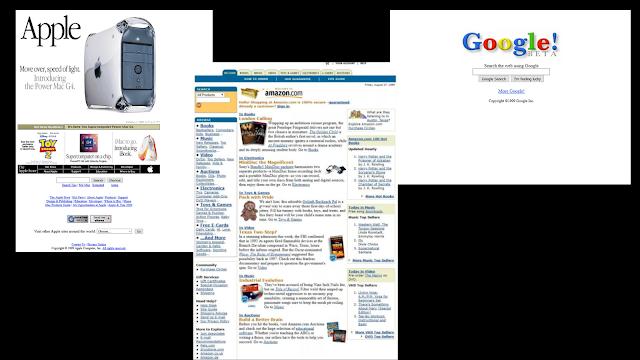 Como eram os sites das grandes tecnológicas em 1999?