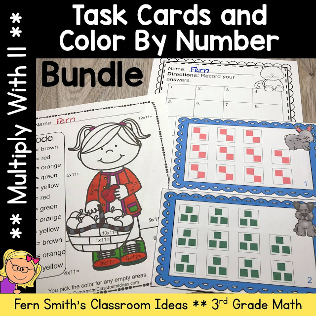 Multiply With 11 Color By Number and Task Card Bundle #FernSmithsClassroomIdeas