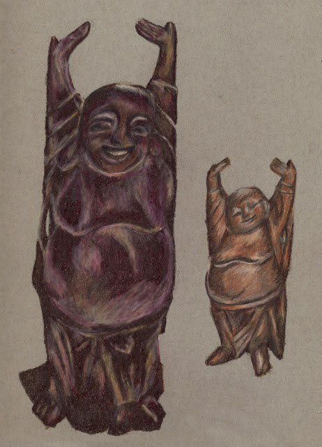 Colored pencil drawing of wooden Buddhas