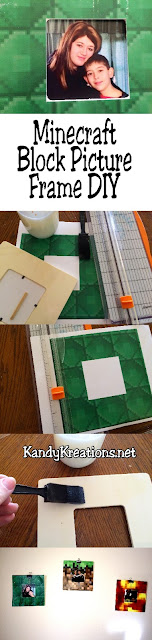 Decorate your Minecraft bedroom with these super easy Minecraft block picture frame.  In only five minutes you'll have a great frame that will match your Minecraft room décor.