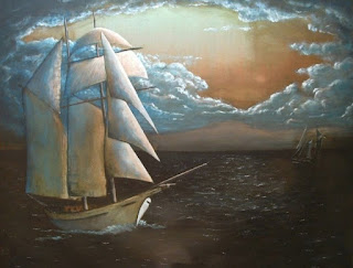 acrylic painting of old sailing ship by George Zantua