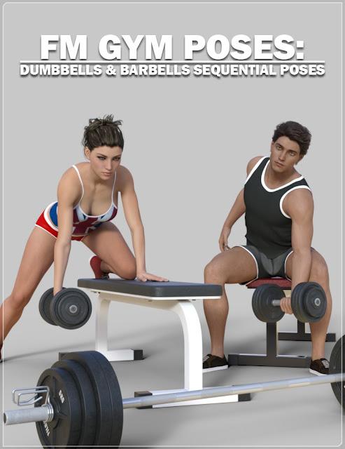 FM Gym Poses: Dumbbells Barbells