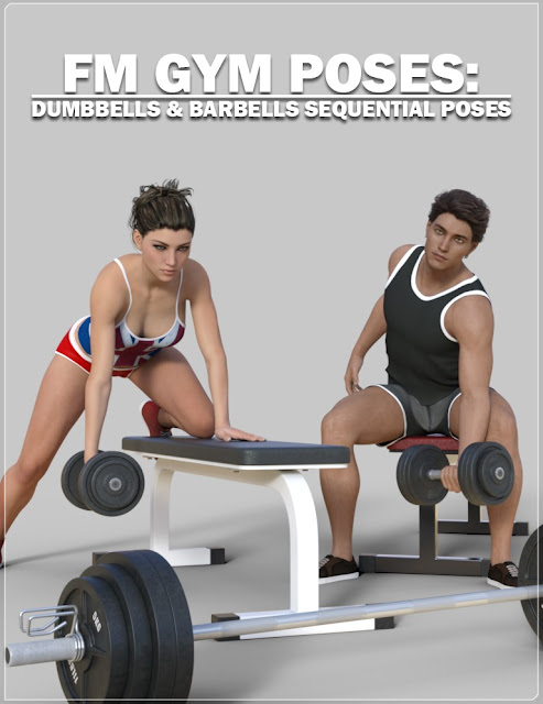 DAZ 3D - FM Gym Poses: Dumbbells Barbells