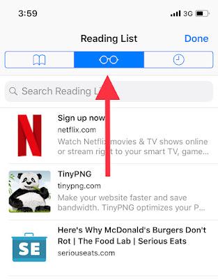 iPhone safari reading list