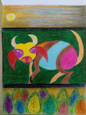 Drawing image of a bull