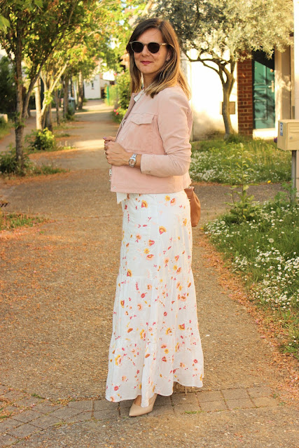 robe longue sézane, veste mango, look du jour, les petites bulles de ma vie