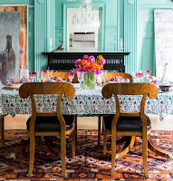 Show pop color of dining room with baby blue wall