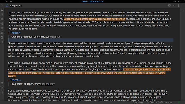 projects nested under paragraphs of the strategy Obsidian.md