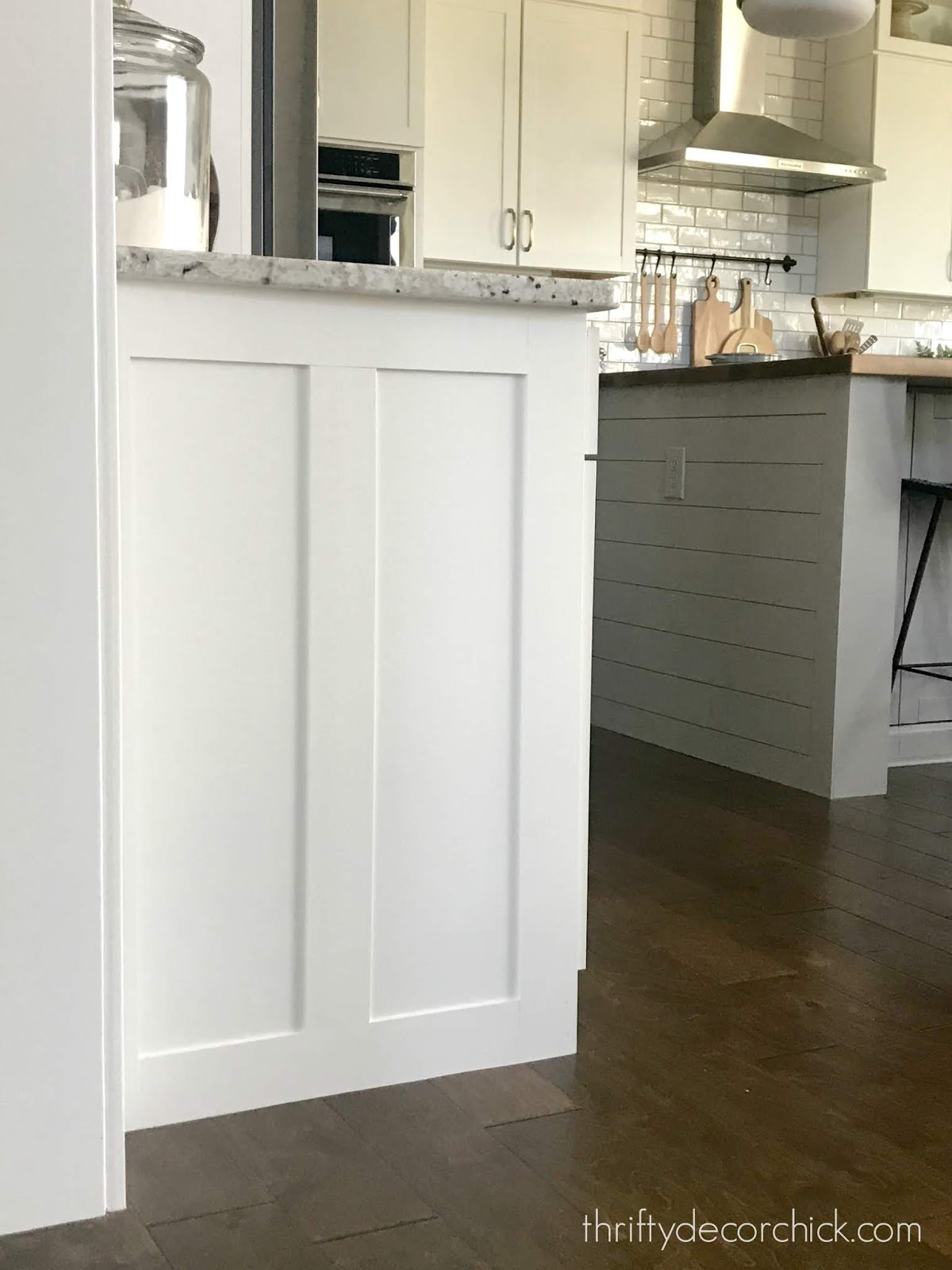 Adding a custom touch to the ends of kitchen cabinets
