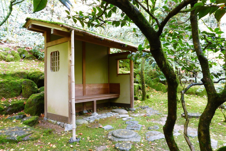 Portland Japanese Garden machiai shelter, meditation shelter at Portland Japanese Garden