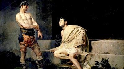 El atleta Narciso se dispone a darle su merecido al emperador