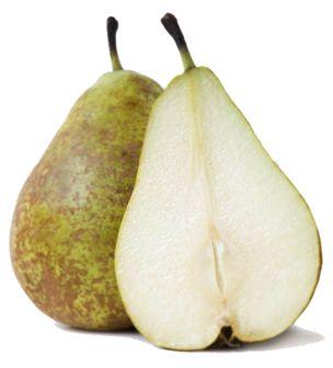 Dos peras. Una pera entera y otra partida a la mitad