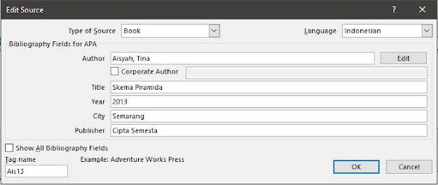 langkah membuat daftar pustaka otomatis di word