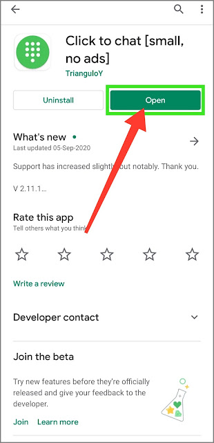 """Download """"Click to chat"""" from the play store"""