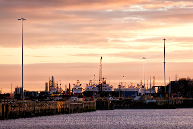 Sunset clouds over the docks at Sunderland in on the north east coast