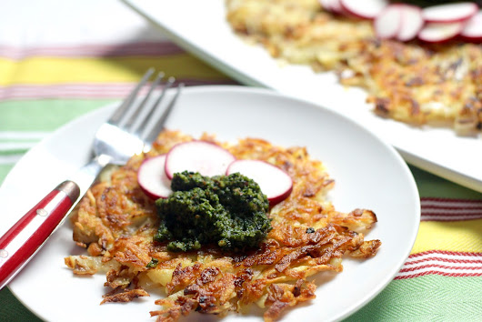 German Potato Pancakes with Radish Leaf Pesto