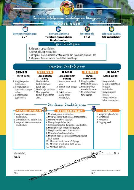 RPP 1 Lembar TK A Tahun Ajaran 2020-2021