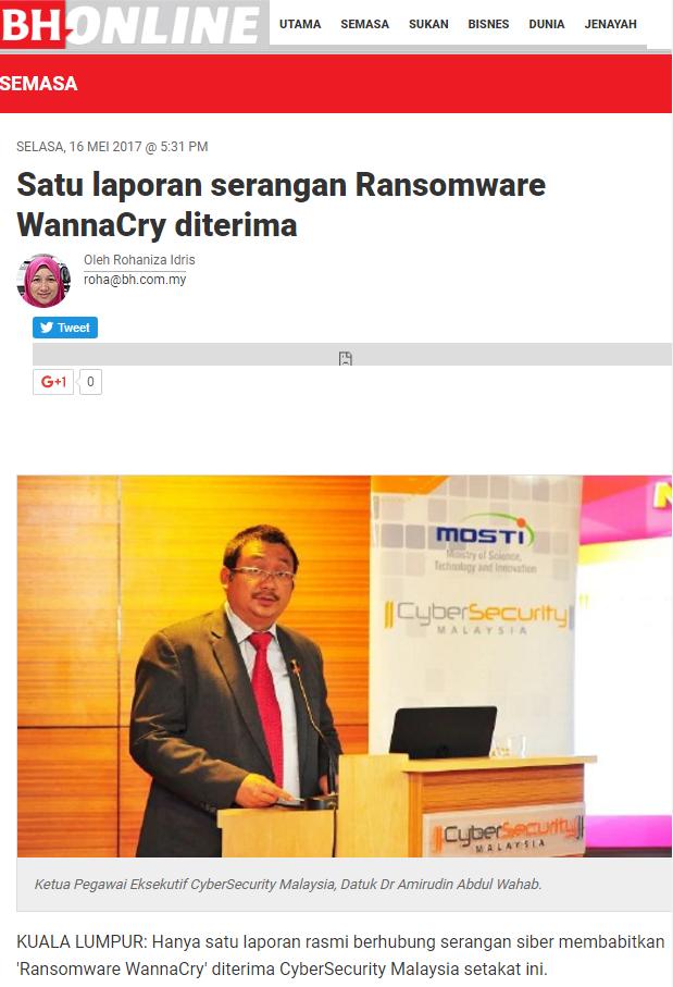 Serangan Ransomeware Dah Mula Serang Malaysia
