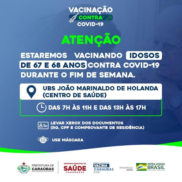Prefeitura de Caraúbas disponibiliza posto de vacinação contra Covid-19 durante final de semana