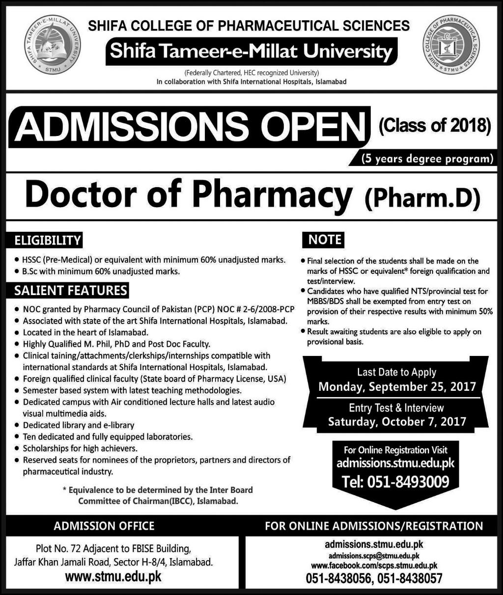Admissions Open in Shifa Tameer-E-Millat University (Stmu) Islamabad - 2017