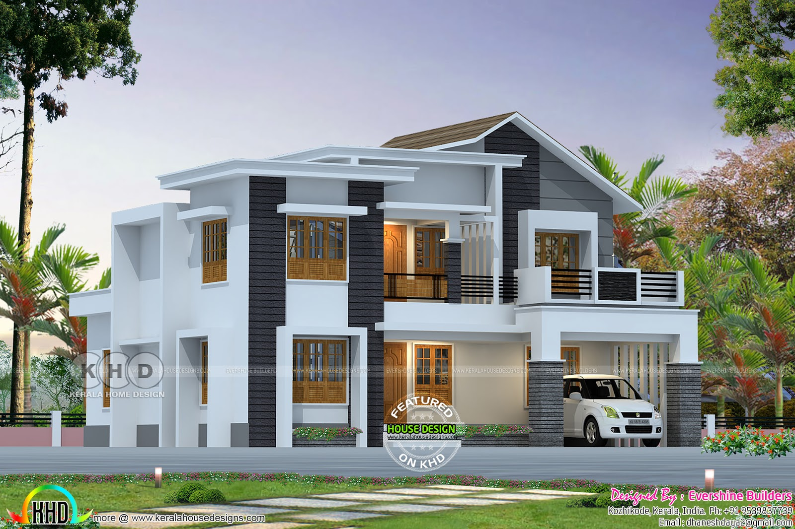 2357 square feet mixed roof modern home kerala home Modern square house