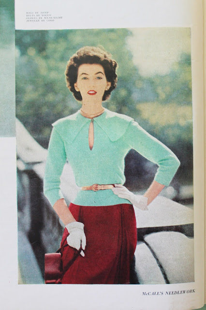 free 1950s vintage cape collar sweater knitting pattern