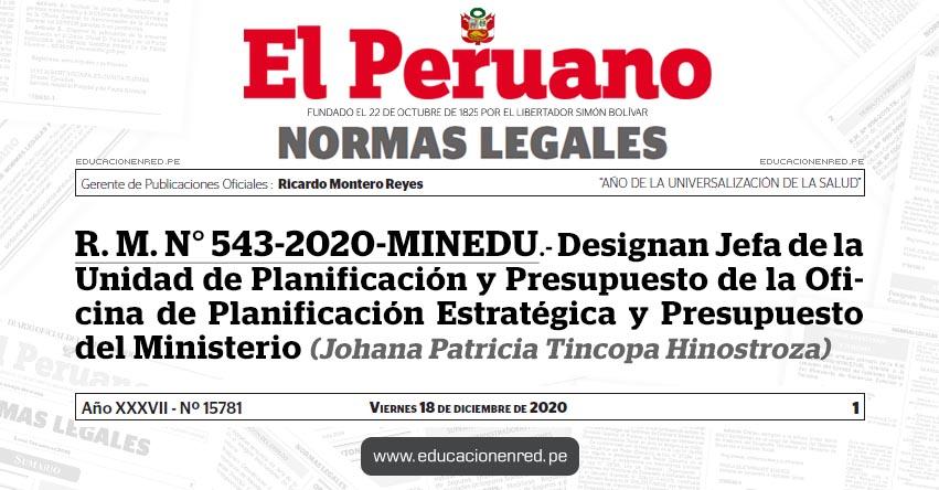R. M. N° 543-2020-MINEDU.- Designan Jefa de la Unidad de Planificación y Presupuesto de la Oficina de Planificación Estratégica y Presupuesto del Ministerio (Johana Patricia Tincopa Hinostroza)