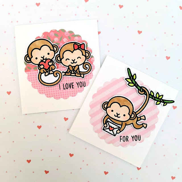 Sunny Studio Stamps: Love Monkey Customer Card by Maestras Scraperas