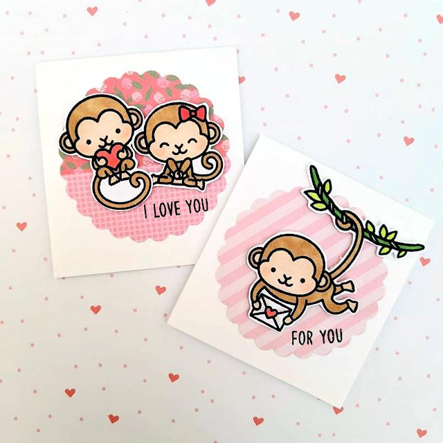 Sunny Studio Stamps: Love Monkey Customer Card by Maestras Scraperas