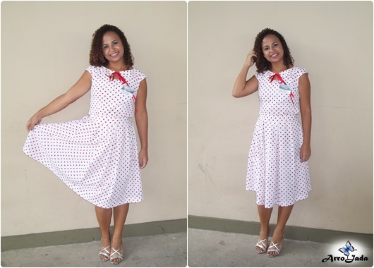 Vestido Rodado de poá anos 50