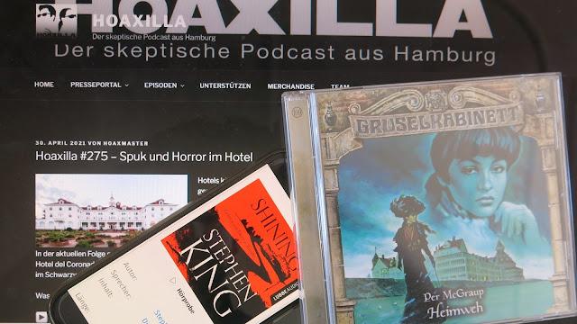 """Website vom skeptischen Podcast Hoaxilla mit dem Hinweis auf die 275. Folge und davor liegen das Hörspiel """"Heimweh"""" und das Hörbuch """"Shinning"""""""