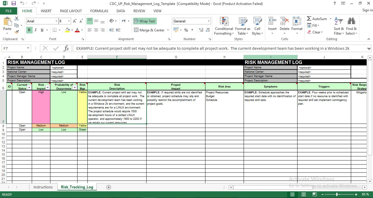 Risk management log excel template free engineering for Project management issues log template