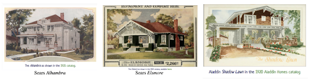 color catalog images of Sears Alhambra, Sears Elsmore, Aladdin Shadow Lawn